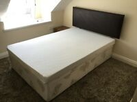 Small double divan bed with 2 large drawers + mattress + headboard