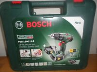 BRAND NEW Bosch PSB 1800 LI-2 Cordless Combi Drill with Two 18 V Lithium-Ion Battery