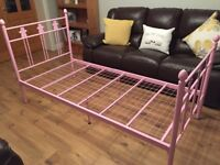Girls Pink Metal Bed Frame - very pretty and immaculate