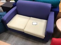 Purple and Cream Two Seat Sofa and Armchair
