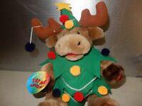 Animated Singing TREE DEER ELK MOOSE Dancing Christmas - Jingle Bells - 14 INCH