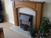 Wooden Fire Surround with Marble insert and Hearth, to incl electric fire.