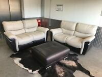 EX SHOWROOM 3 X 2 SEATER ELECTRIC RECLINER LEATHER SOFA & LARGE FOOTSTOOL = FREE DELIVERY