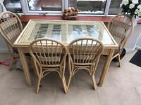 Dining table and chairs glass and bamboo £40