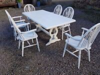 Kitchen / Dining Table and 6 carver chairs