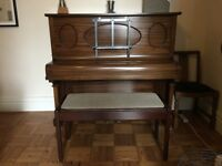 Rushworth and Dreaper Upright Mid-Oak Piano with piano bench - requires professional piano mover