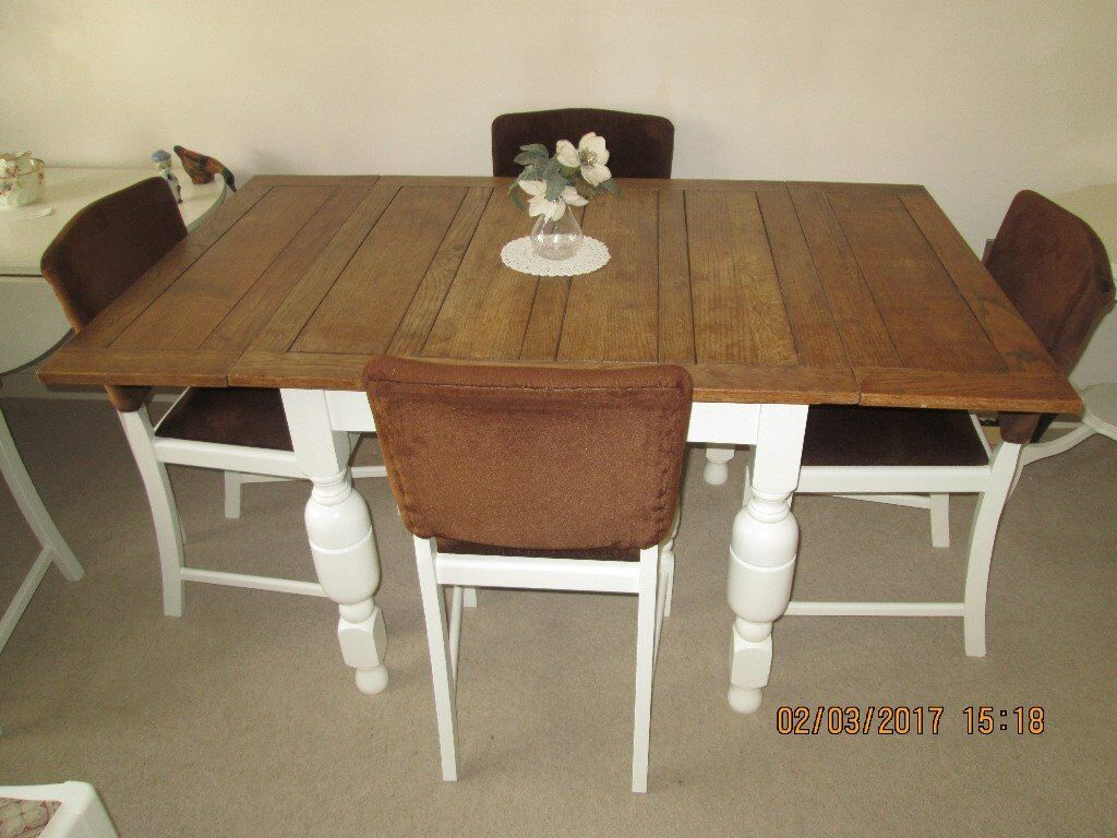 Vintage Oak Dining Table Vintage Extending Solid Oak Dining Table And Four Chairs Painted