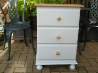 Solid Pine Bedside Table / Chest Drawers Unit Light Grey REFURBISHED VGC