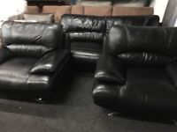 New/Ex Display Leather Samara 1 Seater Chair + 1 Seater Chair + 3 Seater Sofas