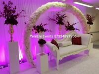 Wedding Sofa Hire £100# Flower Arch# Flower wall# Stage pillars & Lights, Centrepieces
