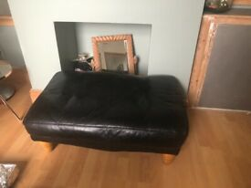 3 Seater Black Leather and Footstool