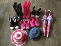 Girls Size 9 and 10 Boots, Wellies and Clogs bundle + 2 Umbrellas & Sun hats