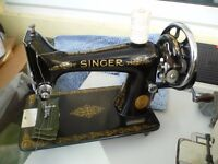 Antique Singer 99K sewing machine - 1937(See 4 Layers of Leather Sample)