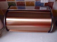 Addis Roll Top Bread Bin Steel Silver and Copper