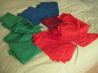 LARGE ODDMENTS OF GREEN BLUE & RED COTTON MATERIAL