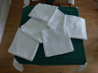 6 Table cloths - white, Ivy leaf pattern 100% cotton