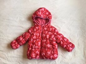 Girls NEXT red and pink winter coat - Age 12-18 months - excellent condition