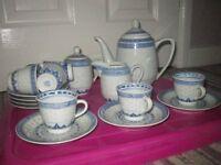 Beautiful Chinese tea set - 7 cups and saucers,coffee/ teapot, milk jug & sugar bowl