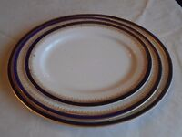Three large meat plates and three terrine dishes (Wedgewood, England)