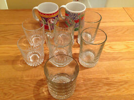 Assortment of 'Old School' Liquor/Beer Glasses and Two Coffee/Tea Mugs