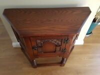 OLD CHARM TUDOR OAK CANTED CABINET PHONE SIDE TABLE SIDEBOARD UNIT