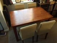 Lovely Homebase Dining Table with 4 Cream Leather Chairs