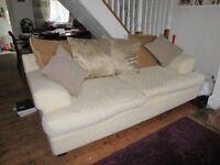 Cream 3/4 seater fabric sofa