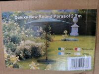 Brand New Deluxe 2.7m parasol (boxed and unopened)