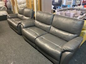 EX DISPLAY LAZYBOY CAMDEN GREY LEATHER 3 + 2 SEATER RECLINER SOFAS 70% Off RRP