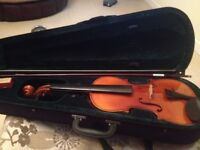"Full Size (14"" body) violin, bow and case."