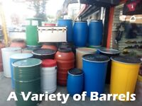 Plastic/ Steel barrels, All Sizes, All Colours, For Shipping, Storage New and Used! CHEAP