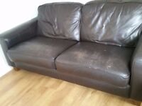Two 3 Seater brown leather sofas