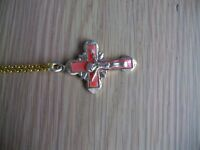 2x Gold Plated Chain 1x with a Pink Cross and 1x with a Red Cross