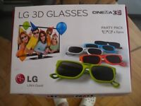 LG 3D glasses. Party pack x 5 pcs. New
