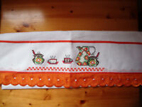 ** NEW ** Cross stitch detailed white tea towel from Brazil. 100% cotton.