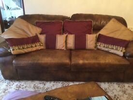 Immaculate Gold and Burgandy Curtains, with Matching Cushion Covers and Tiebacks.