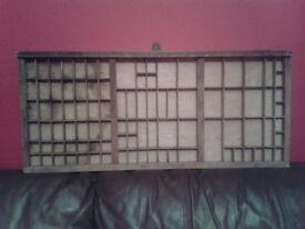 Antique wooden printer's tray