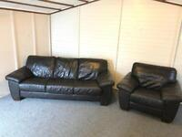 3-1–1 full brown leather ~ sofas set Suite