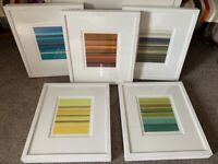 5 framed & mounted signed limited edition prints £35 each All 5= £170 free delivery present gift