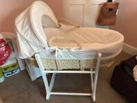 John Lewis Moses basket, stand, mattress and sheets