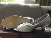 Brand new white satin wedding shoes