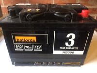 HALFORDS 70ah BRAND NEW BATTERY