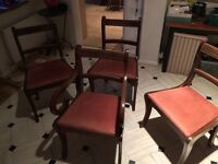 3 Delightful Wooden Dining Chairs + 1 end chair with arm rests