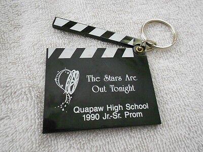 Clap Board Key Chain Ring Quapaw Oklahoma 1990 Prom Souvenir Black White Plastic (Clapboard Keychain)