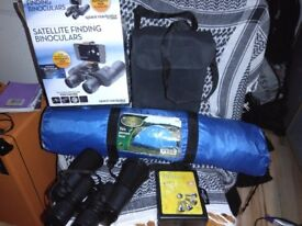 Tent, binoculars and wheel lock set