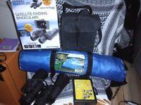 Tent, binoculars and wheel lock set