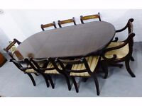 Mahogany Extending Dining Room Table with 8 Matching Chairs