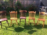 5 wooden chairs in good condition. Free, must take all 5