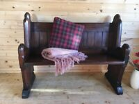 Antique solid pine church pew monks bench hall seat settle wth shelf.