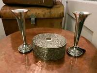 Plated Silver Trinket Box and Flutes